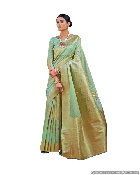 Soft Silk Green Handloom Weaven Saree KS08