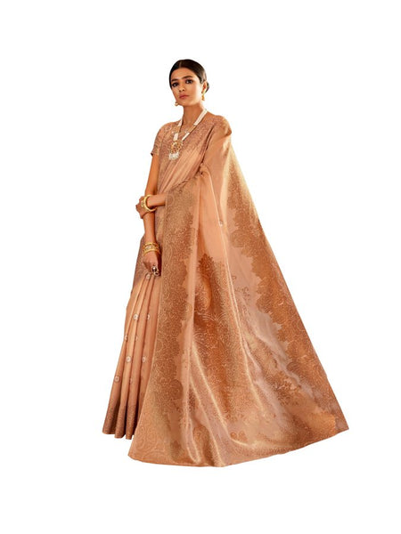 Soft Silk Brown Handloom Weaven Saree KS09