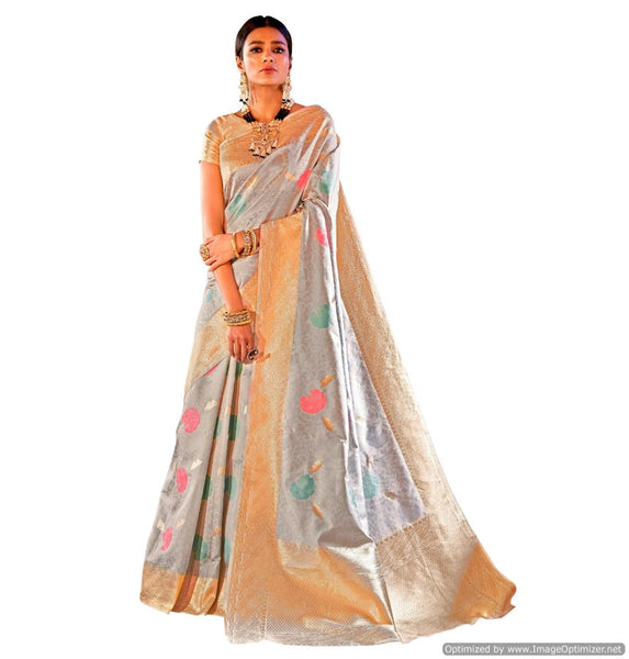 Soft Silk Blue Handloom Weaven Saree KS10