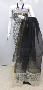 Exclusive Black Block Printed soft Kota Cotton Kurta Dupatta Fabric Set KOTASS10 - Ethnic's By Anvi Creations