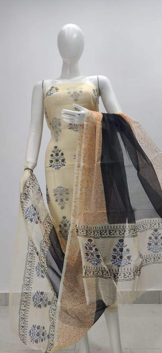 Exclusive Beige Block Printed soft Kota Cotton Kurta Dupatta Fabric Set KOTASS15 - Ethnic's By Anvi Creations