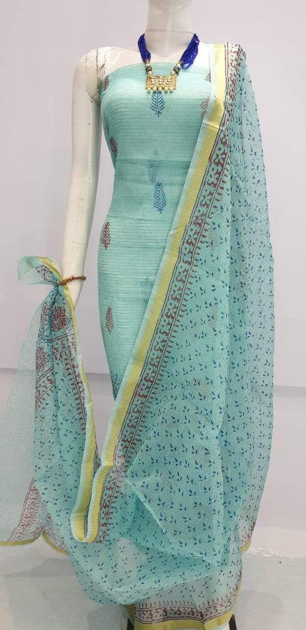 Exclusive Turquoise Block Printed soft Kota Cotton Kurta Dupatta Fabric Set KOTASS17 - Ethnic's By Anvi Creations