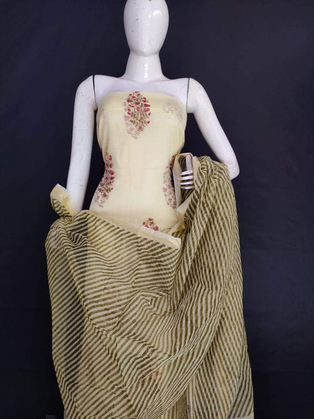 Exclusive Beige Green Block Printed soft Kota Cotton Kurta Dupatta Fabric Set KOTASS19