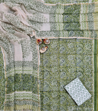 Light Green Block Printed Soft Kota Cotton Suit Dress Material KOTASS20