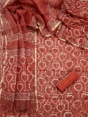 Rust Orange Block Printed Soft Kota Cotton Suit Dress Material KOTASS22