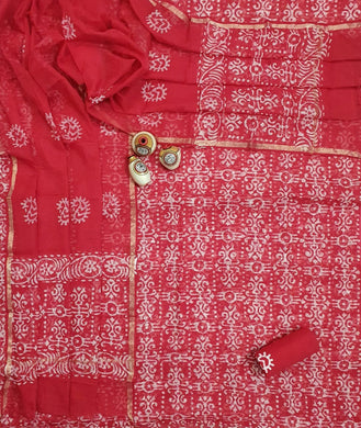 Red Block Printed Soft Kota Cotton Suit Dress Material KOTASS23