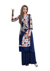 Designer Rayon Cotton Blue Embroidered Long Kurta Kurti Size XL SCKS104 - Ethnic's By Anvi Creations