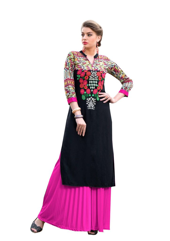 Designer Rayon Cotton Black Embroidered Long Kurta Kurti Size XL SCKS111 - Ethnic's By Anvi Creations