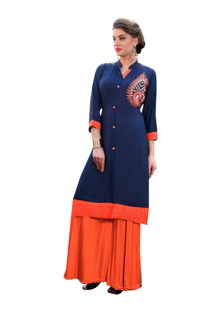 Designer Rayon Cotton Blue Embroidered Long Kurta Kurti Size XL SCKS113 - Ethnic's By Anvi Creations