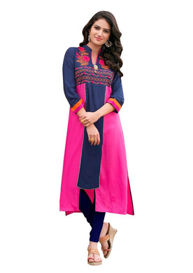 Designer Rayon Cotton Blue Embroidered Long Kurta Kurti Size XL SCKS205 - Ethnic's By Anvi Creations