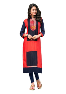 Designer Rayon Cotton Red Embroidered Long Kurta Kurti Size XL SCKS207 - Ethnic's By Anvi Creations