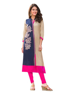 Designer Rayon Cotton Blue Embroidered Long Kurta Kurti Size XL SCKS211 - Ethnic's By Anvi Creations