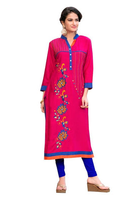 Designer Rayon Cotton Pink Embroidered Long Kurta Kurti Size XL SCKS212 - Ethnic's By Anvi Creations