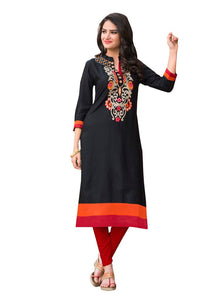 Designer Rayon Cotton Black Embroidered Long Kurta Kurti Size XL SCKS216 - Ethnic's By Anvi Creations