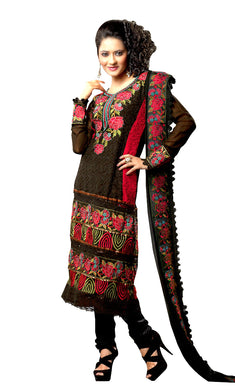 Georgette Black Embroidered Salwar Suit Dress Material SC1088