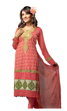 Georgette Carrot Pink Embroidered Salwar Suit Dress Material SC1092
