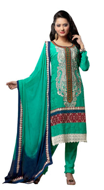 Georgette Turquoise Embroidered Salwar Suit Dress Material SC1095