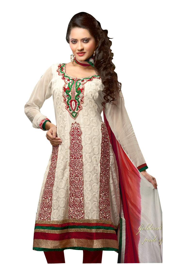 Embroidered Georgette Off White Red Salwar Suit Dress Material SC1096