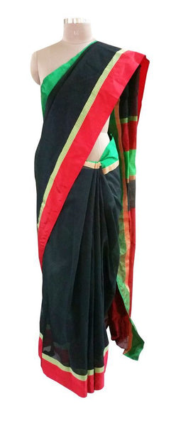 Designer Black Ganga Jamuni Border Kota Cotton saree KSS50