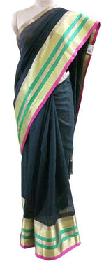 Designer Black Broad Golden Border Kota Cotton Saree KSS52 - Ethnic's By Anvi Creations