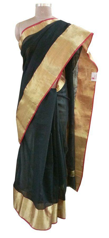 Designer Black Broad Golden Border Kota Cotton Saree KSS53 - Ethnic's By Anvi Creations