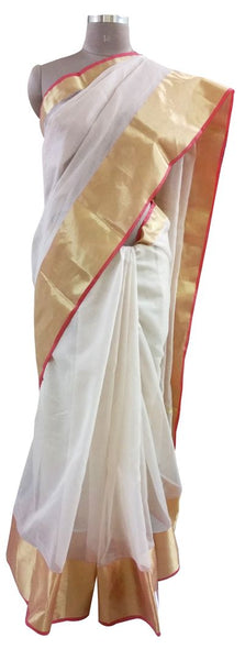 Designer Off White Gold Border Kota Cotton saree KSS54
