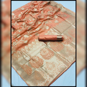 Designer Light Orange Weaven Silk Saree KL08 - Ethnic's By Anvi Creations