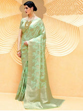 Load image into Gallery viewer, Designer Green Weaven Silk Saree KL10 - Ethnic's By Anvi Creations