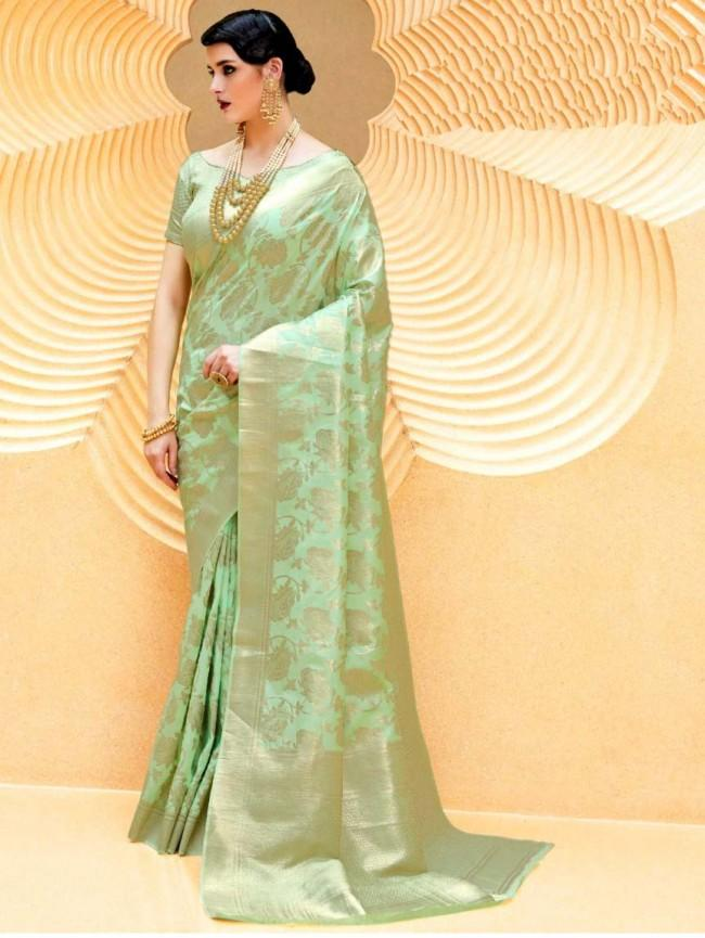 Designer Green Weaven Silk Saree KL10 - Ethnic's By Anvi Creations