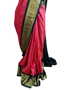 Red Black Border Kanchi Blend Kanjivaram Silk Saree Kanchi01 - Ethnic's By Anvi Creations