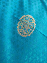 Load image into Gallery viewer, Turquoise Kanchi Blend Kanjivaram Silk Saree Kanchi03 - Ethnic's By Anvi Creations