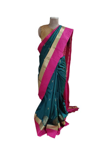 Bottle Green Pink Border Kanchi Blend Kanjivaram Silk Saree Kanchi08 - Ethnic's By Anvi Creations