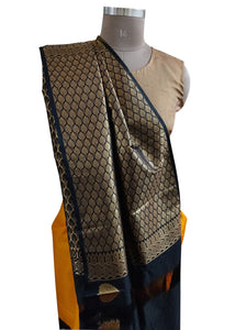 Yellow Black Kanchi Blend Kanjivaram Silk Saree Kanchi11 - Ethnic's By Anvi Creations