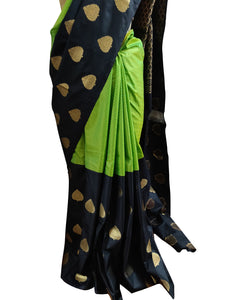 Green Black Kanchi Blend Kanjivaram Silk Saree Kanchi12 - Ethnic's By Anvi Creations