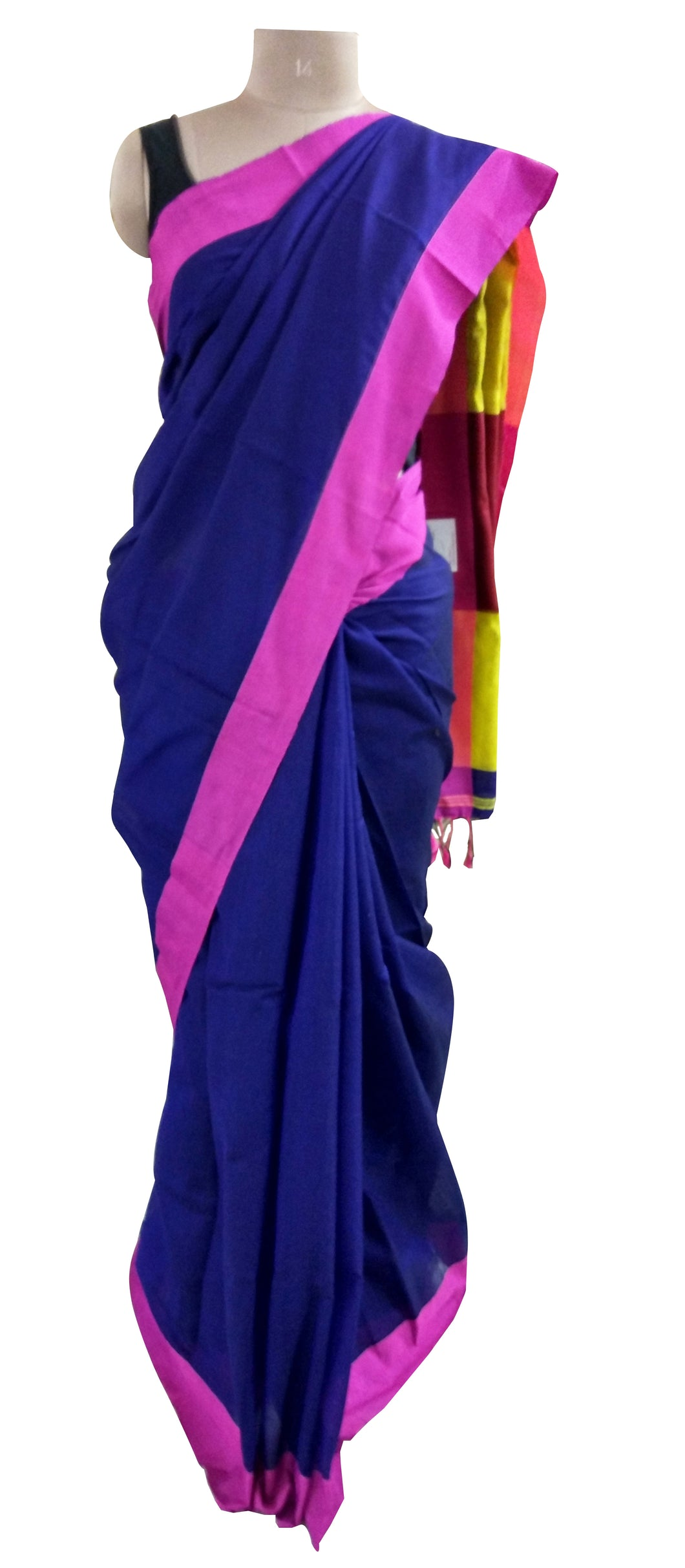 Exclusive Festival Plain Border Blue Cotton Saree