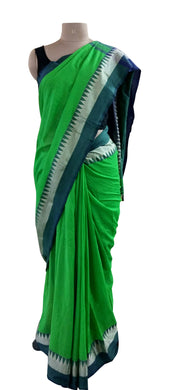 Exclusive Festival Temple Border Green Cotton Saree