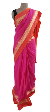 Exclusive Festival Temple Border Magenta Cotton Saree