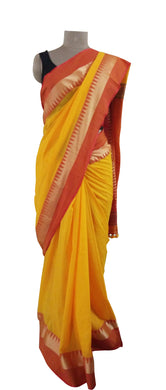 Exclusive Festival Temple Border Yellow Cotton Saree