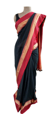 Exclusive Festival Temple Border Black Cotton Saree