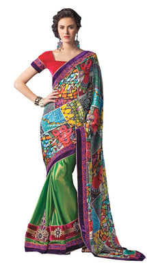 Green Multi Digital Printed Embroidered Concept Saree SC5005 - Ethnic's By Anvi Creations