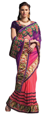 Pink Purple Digital Printed Embroidered Concept Saree SC5006 - Ethnic's By Anvi Creations