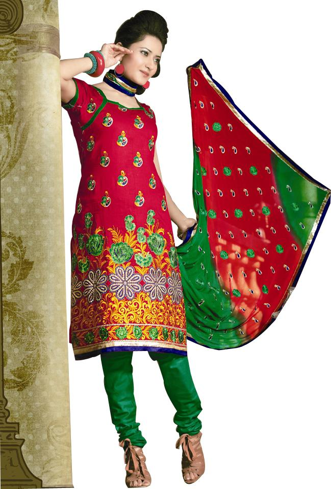 Chanderi Cotton Red Green Salwar Kameez Churidar Dress Material SC332 - Ethnic's By Anvi Creations