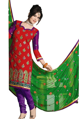 Chanderi Cotton Red Purple Salwar Kameez Churidar Dress Material SC337 - Ethnic's By Anvi Creations