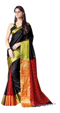 Black Cotton Silk Zari Border Saree Lacey - Ethnic's By Anvi Creations