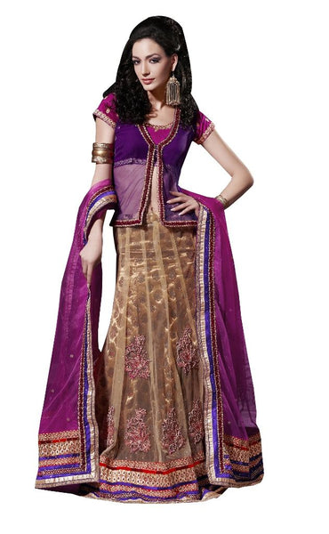 Purple Net Lehenga Choli Dupatta Fabric Only  SC515