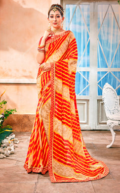 Designer Faux Georgette Red Yellow Printed Lehariya Saree LEH51