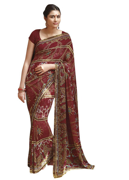 Designer Red Georgette Printed Ethnic Saree SC2498