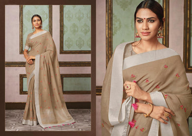 Designer Brown Linen Cotton Embroidered Saree LT112 - Ethnic's By Anvi Creations