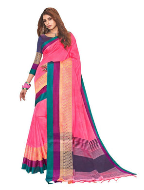 Solid Border Pink Cotton Silk Saree LT06 - Ethnic's By Anvi Creations