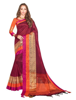 Solid Border Maroon Cotton Silk Saree LT07 - Ethnic's By Anvi Creations